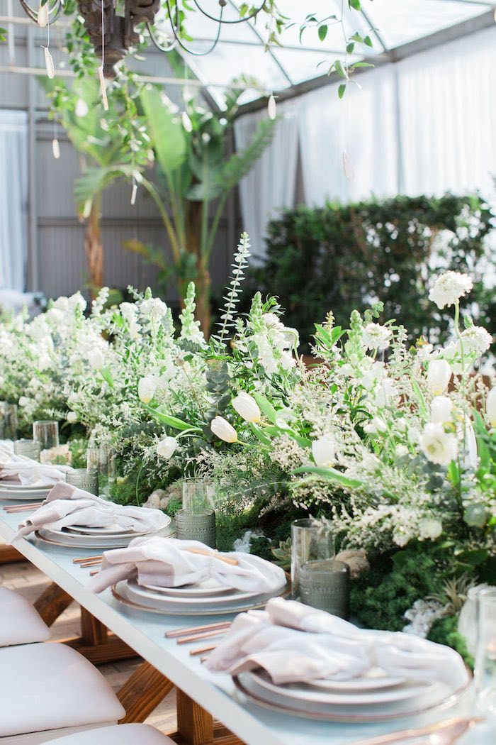 Garden Guest Table + Table Settings from an Ethereal Greenhouse Baby Shower on Kara's Party Ideas | KarasPartyIdeas.com (39)