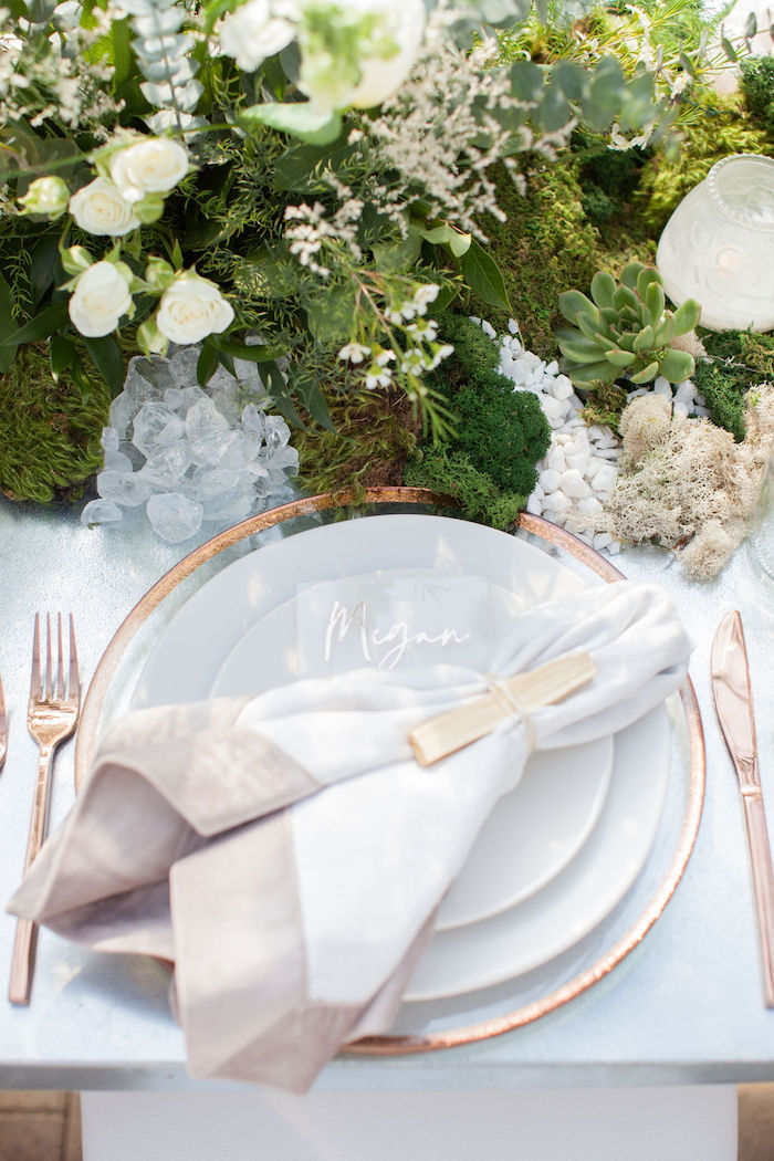 Copper & Cream Table Setting from an Ethereal Greenhouse Baby Shower on Kara's Party Ideas | KarasPartyIdeas.com (38)