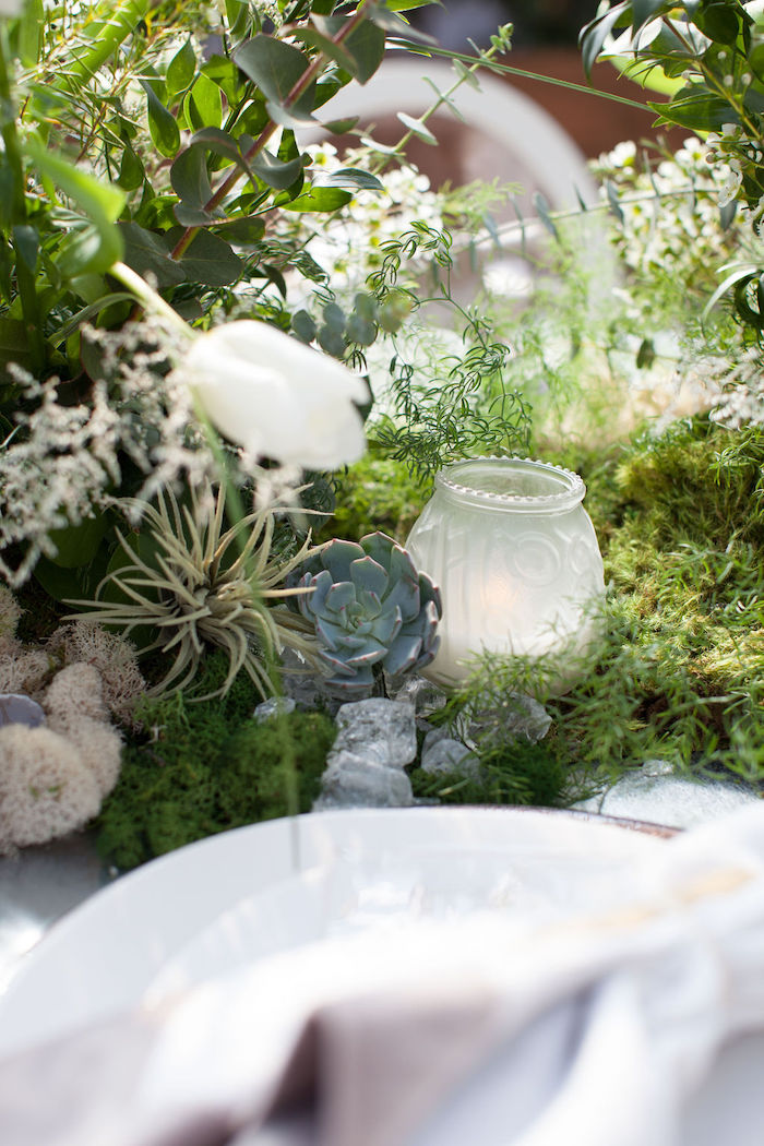 Succulent & Candle Table Centerpieces + Decor from an Ethereal Greenhouse Baby Shower on Kara's Party Ideas | KarasPartyIdeas.com (37)