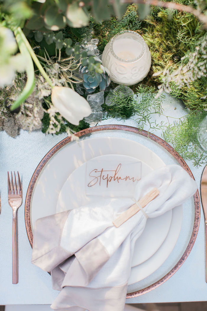 Copper & Cream Table Setting from an Ethereal Greenhouse Baby Shower on Kara's Party Ideas | KarasPartyIdeas.com (35)