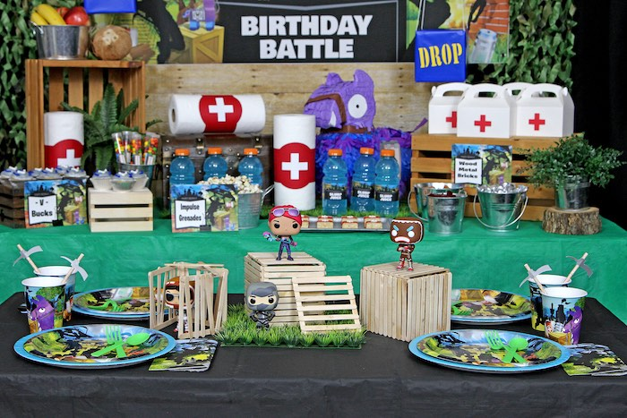 Fortnite Themed Party Tables from a Fortnite Birthday Party on Kara's Party Ideas | KarasPartyIdeas.com (10)
