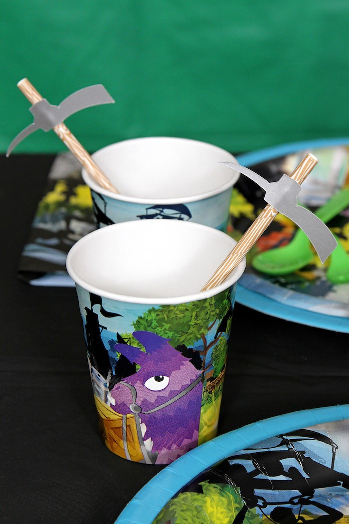 Fortnite Cups with Pickaxe Straws from a Fortnite Birthday Party on Kara's Party Ideas | KarasPartyIdeas.com (8)