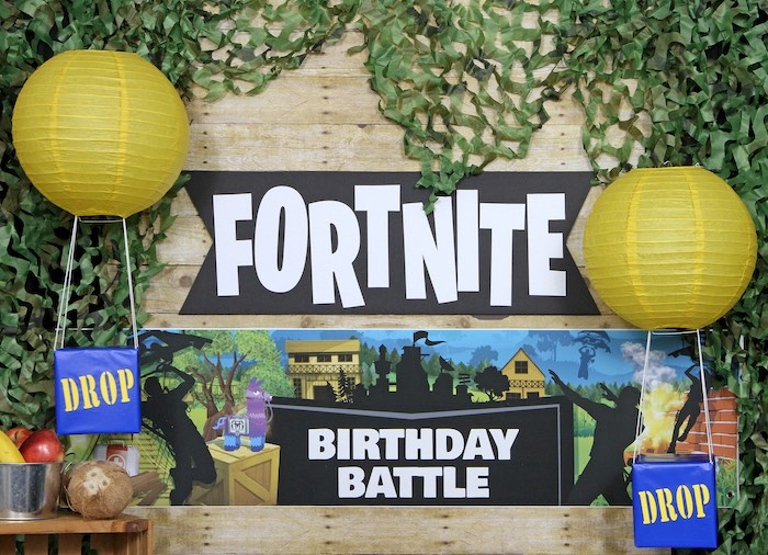 Fortnite Party Backdrop from a Fortnite Birthday Party on Kara's Party Ideas | KarasPartyIdeas.com (3)
