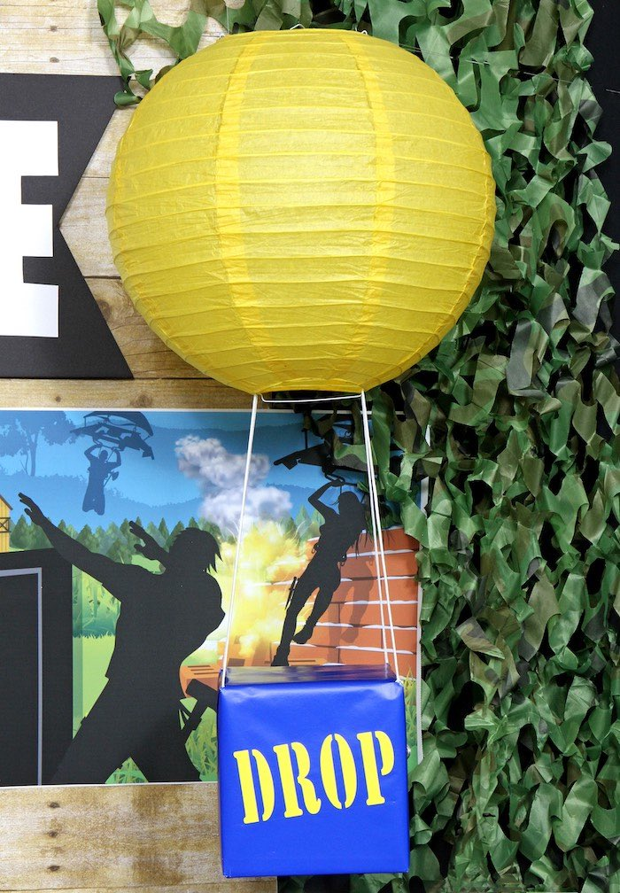 Paper Lantern Fortnite Drop Box Decoration from a Fortnite Birthday Party on Kara's Party Ideas | KarasPartyIdeas.com (2)
