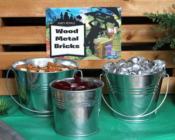 Snack + Supply Buckets from a Fortnite Birthday Party on Kara's Party Ideas | KarasPartyIdeas.com (21)