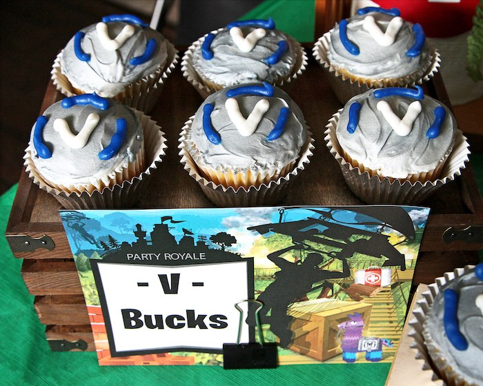 V Buck Cupcakes from a Fortnite Birthday Party on Kara's Party Ideas | KarasPartyIdeas.com (19)