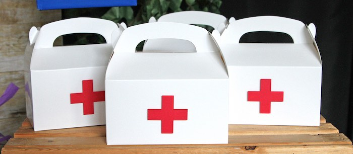 Medic Gable Favor Boxes from a Fortnite Birthday Party on Kara's Party Ideas | KarasPartyIdeas.com (17)