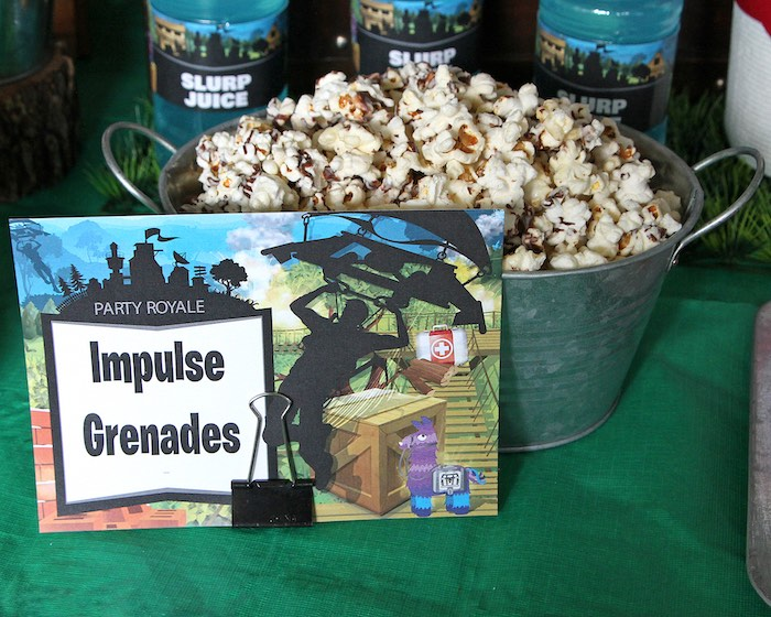 Impulse Grenades + Popcorn from a Fortnite Birthday Party on Kara's Party Ideas | KarasPartyIdeas.com (16)