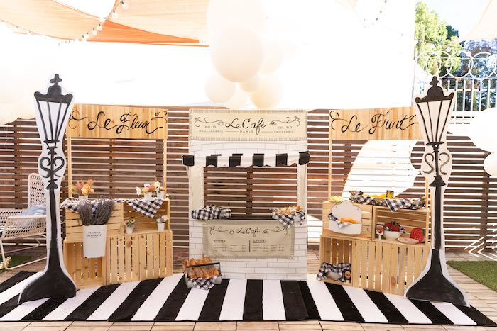 French Parisian Market Stands from a French Parisian Market Birthday Party on Kara's Party Ideas | KarasPartyIdeas.com (16)