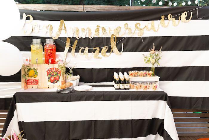 Beverage Table from a French Parisian Market Birthday Party on Kara's Party Ideas | KarasPartyIdeas.com (15)