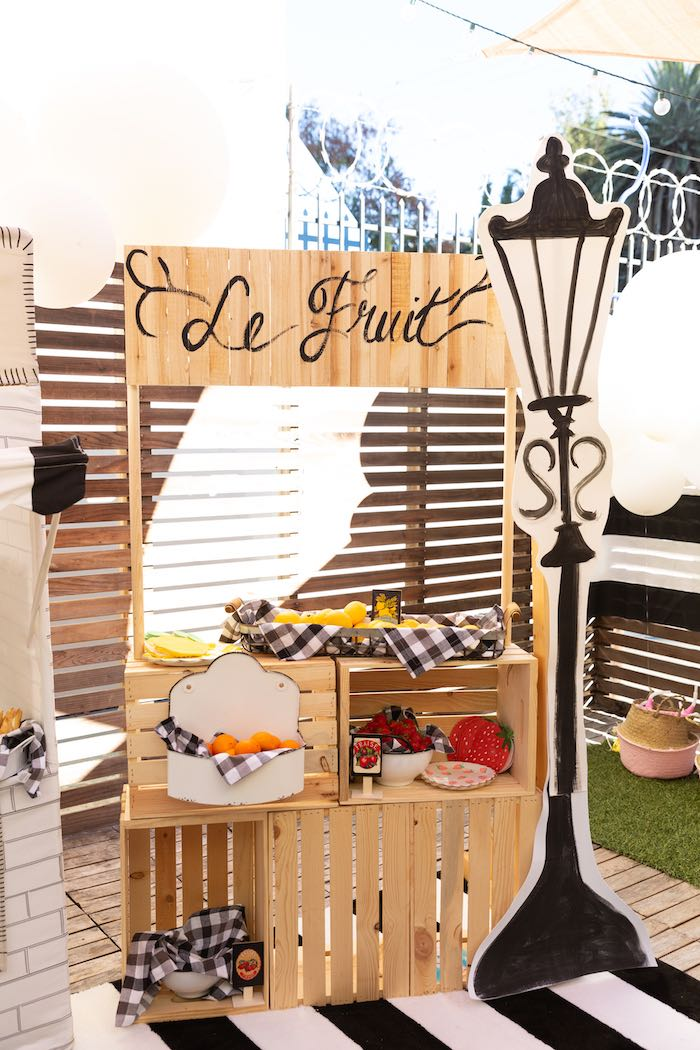 Market Stand from a French Parisian Market Birthday Party on Kara's Party Ideas | KarasPartyIdeas.com (12)