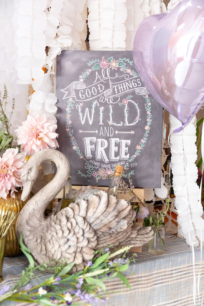 Wild and Free Chalkboard Sign from a French Parisian Market Birthday Party on Kara's Party Ideas | KarasPartyIdeas.com (28)