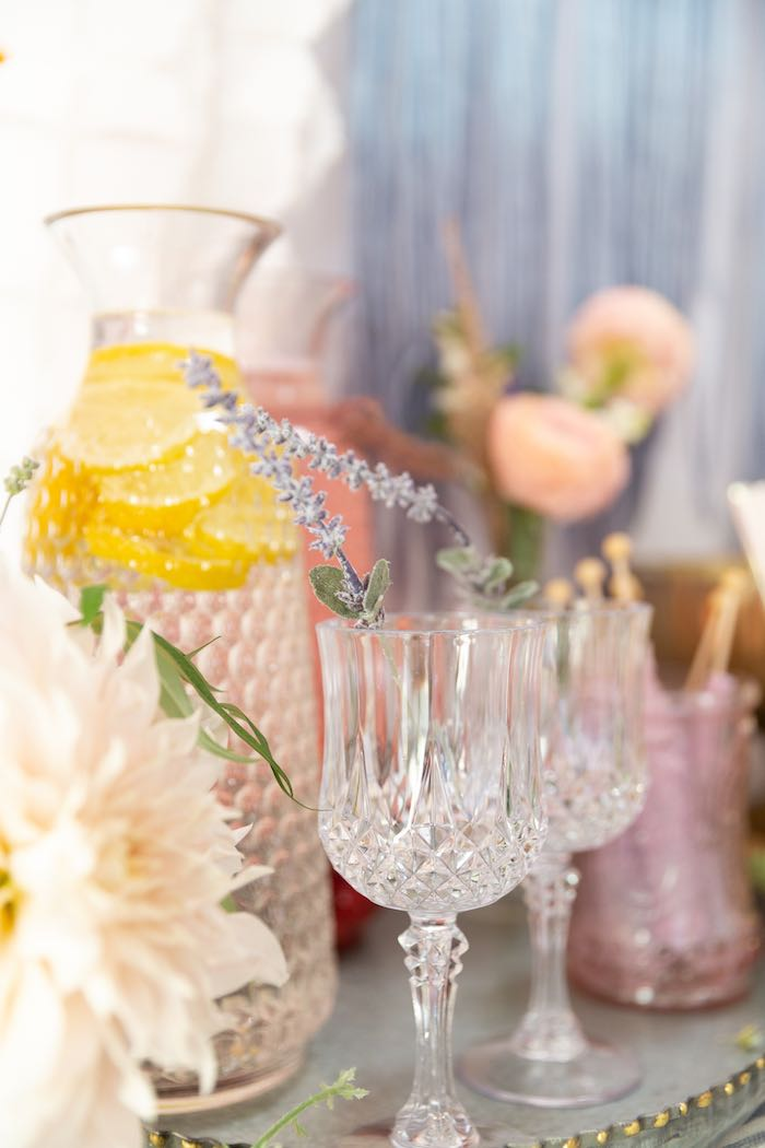 Crystal Goblets + Pitcher from a French Parisian Market Birthday Party on Kara's Party Ideas | KarasPartyIdeas.com (6)