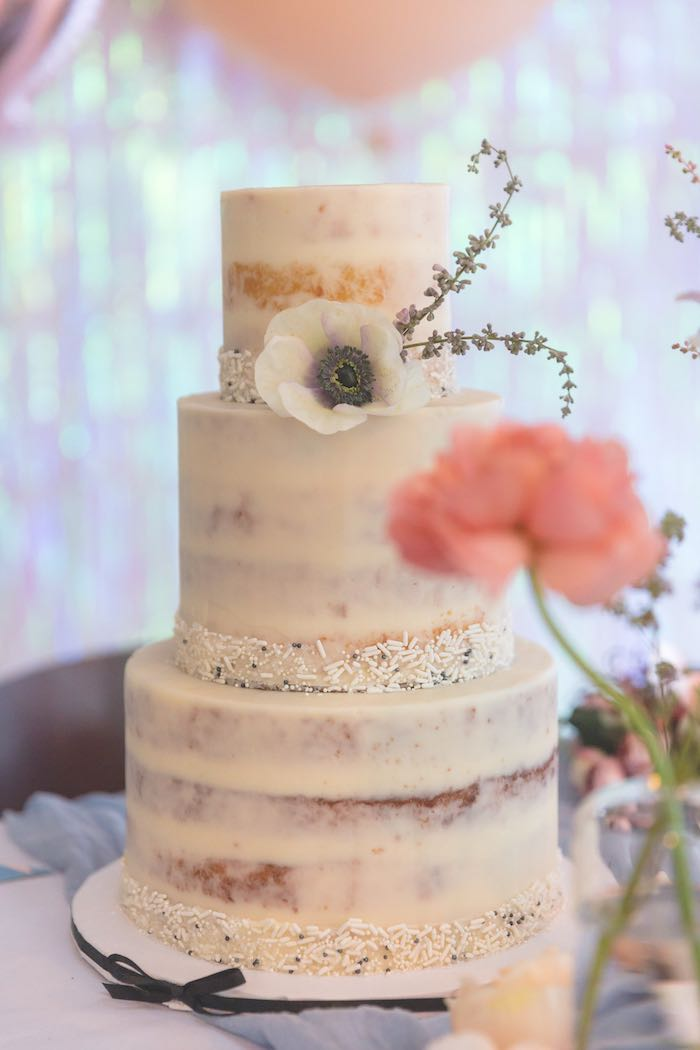 Three-tiered Semi-naked Cake from a French Parisian Market Birthday Party on Kara's Party Ideas | KarasPartyIdeas.com (5)