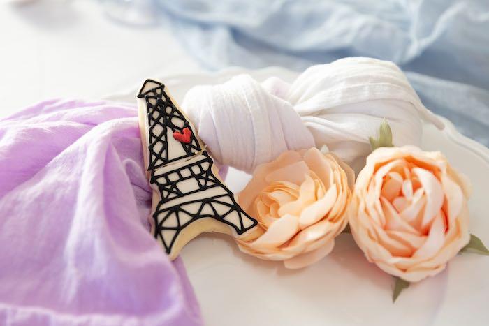 Eiffel Tower Cookie + Napkin from a French Parisian Market Birthday Party on Kara's Party Ideas | KarasPartyIdeas.com (26)