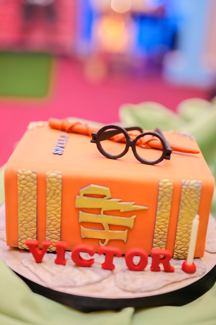 Harry Potter Themed Birthday Cake from a Harry Potter Party for Triplets on Kara's Party Ideas | KarasPartyIdeas.com (8)