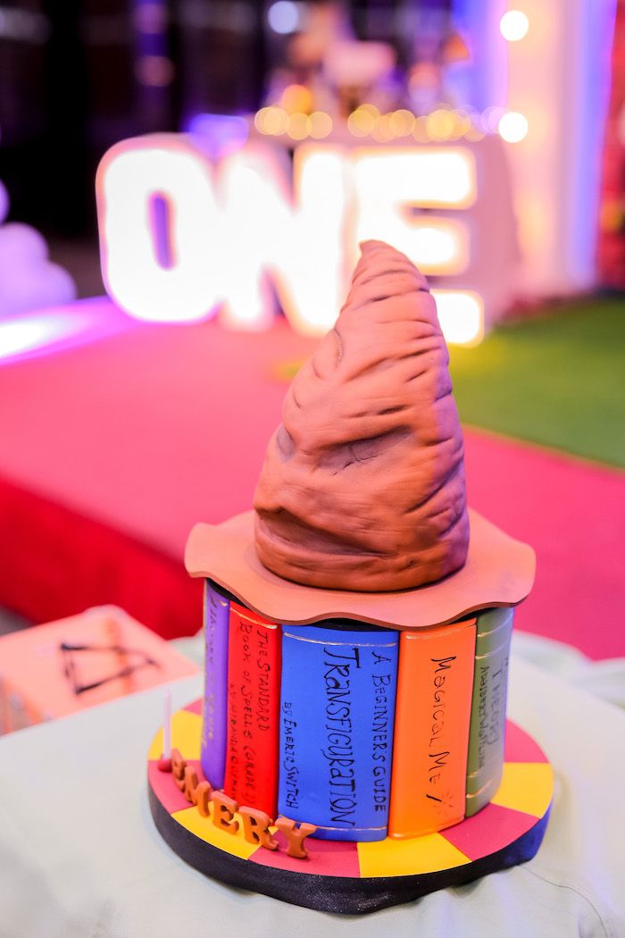 Sorting Hat + Book Cake from a Harry Potter Party for Triplets on Kara's Party Ideas | KarasPartyIdeas.com (4)