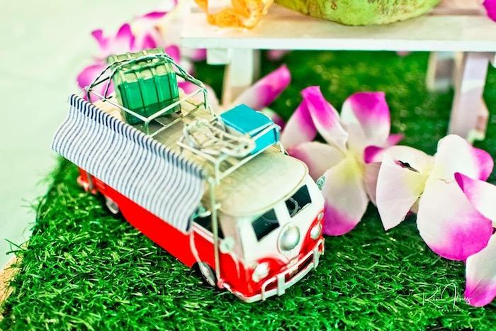 VW Van Table Centerpiece from a Hawaiian Luau Inspired Birthday Party on Kara's Party Ideas | KarasPartyIdeas.com (17)