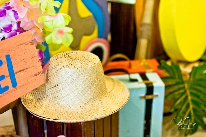 Straw Hat Favors from a Hawaiian Luau Inspired Birthday Party on Kara's Party Ideas | KarasPartyIdeas.com (16)