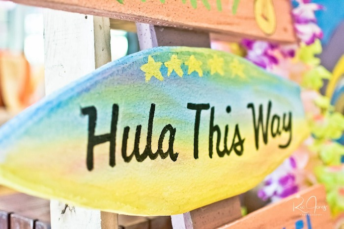Hula This Way Surf Board Sign from a Hawaiian Luau Inspired Birthday Party on Kara's Party Ideas | KarasPartyIdeas.com (15)