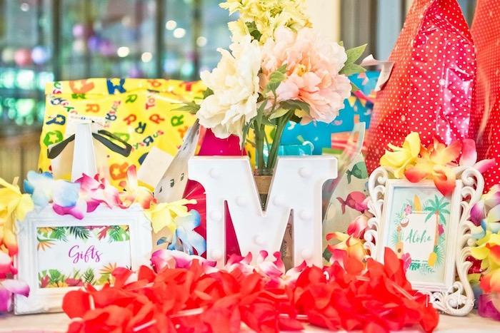 Tropical Gift Table from a Hawaiian Luau Inspired Birthday Party on Kara's Party Ideas | KarasPartyIdeas.com (14)