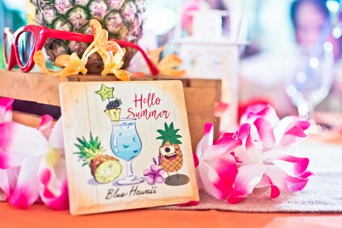 Tropical Hello Summer Signage from a Hawaiian Luau Inspired Birthday Party on Kara's Party Ideas | KarasPartyIdeas.com (13)