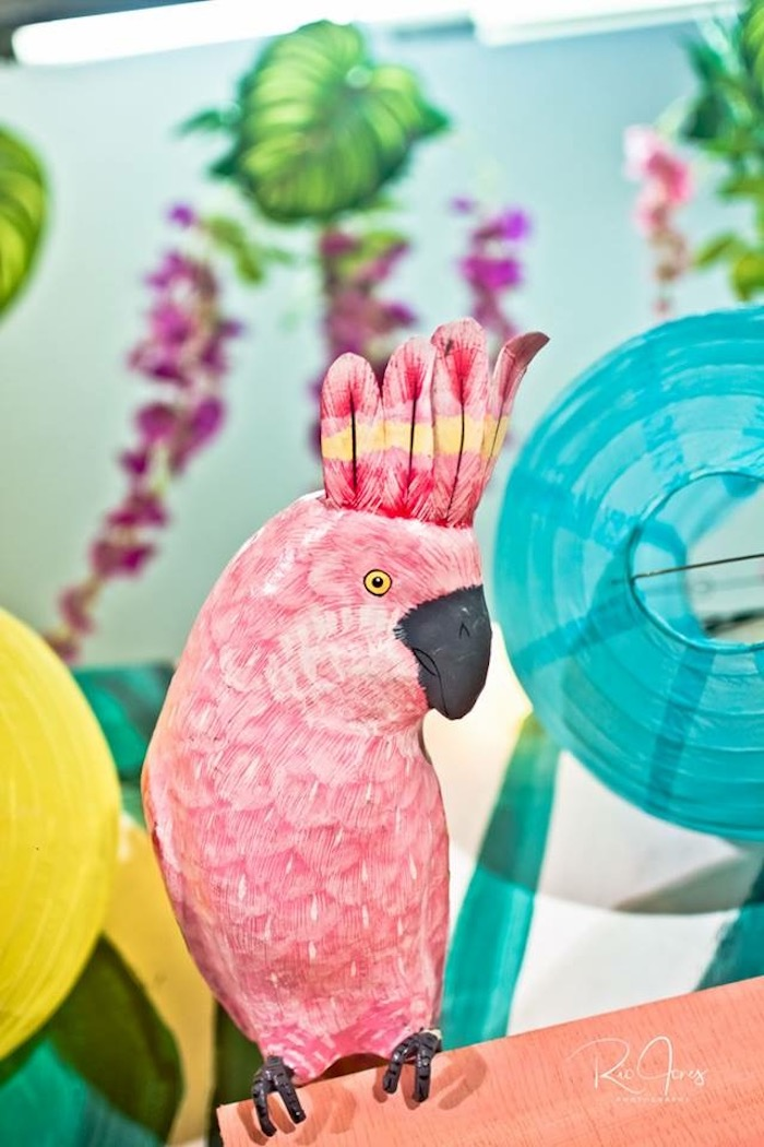 Pink Parrot from a Hawaiian Luau Inspired Birthday Party on Kara's Party Ideas | KarasPartyIdeas.com (8)