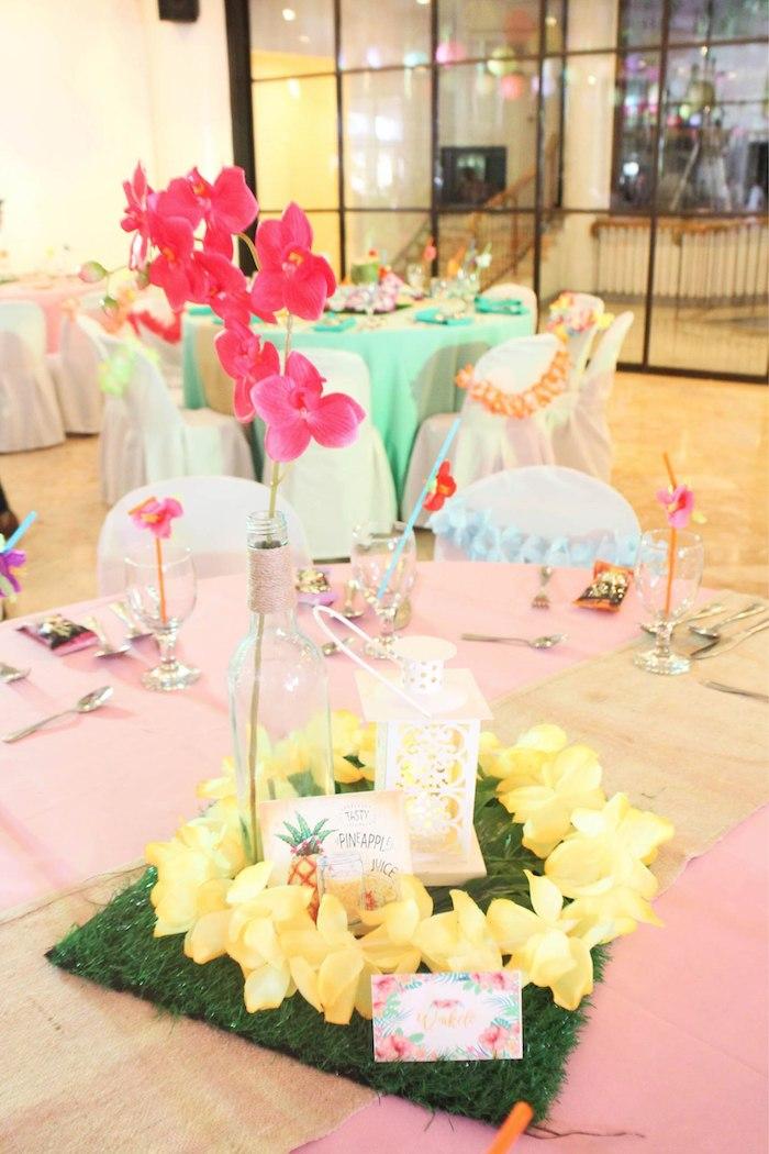Tropical Bloom Table Centerpiece from a Hawaiian Luau Inspired Birthday Party on Kara's Party Ideas | KarasPartyIdeas.com (26)