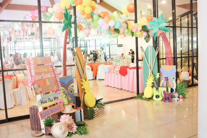 Tropical Party Entrance from a Hawaiian Luau Inspired Birthday Party on Kara's Party Ideas | KarasPartyIdeas.com (25)