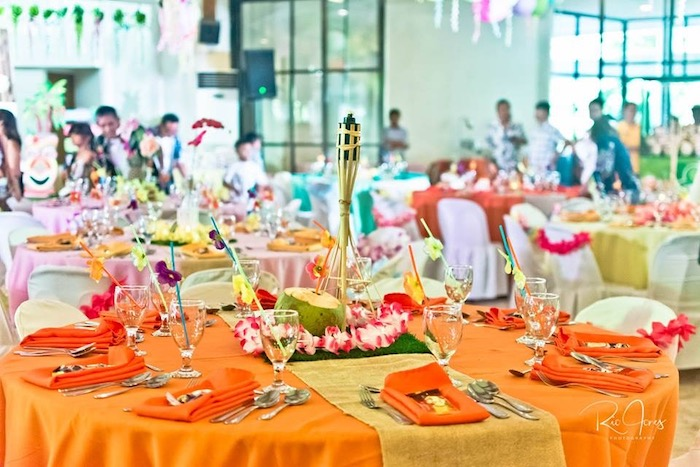 Tropical Guest Table from a Hawaiian Luau Inspired Birthday Party on Kara's Party Ideas | KarasPartyIdeas.com (23)