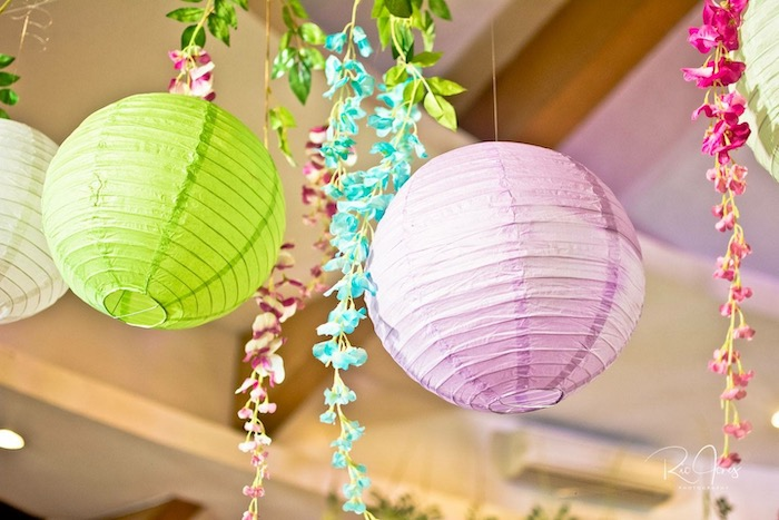 Tropical Flower Garland & Paper Lantern Ceiling from a Hawaiian Luau Inspired Birthday Party on Kara's Party Ideas | KarasPartyIdeas.com (22)