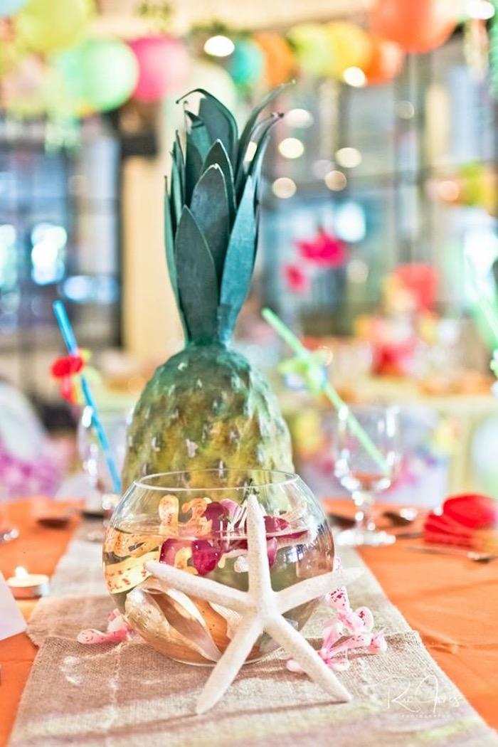 Tropical Fish Bowl Table Centerpiece from a Hawaiian Luau Inspired Birthday Party on Kara's Party Ideas | KarasPartyIdeas.com (21)