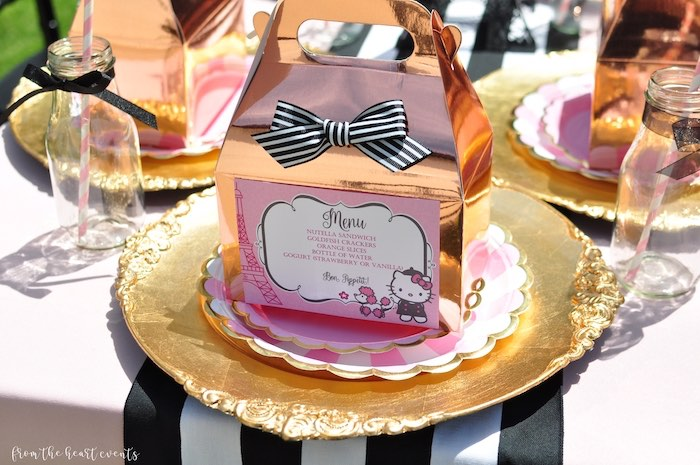 Gable Box Hello Kitty + Paris Table Setting from a Hello Kitty in Paris Birthday Party on Kara's Party Ideas | KarasPartyIdeas.com (23)