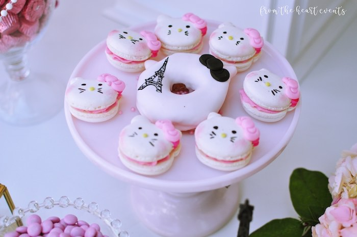 Hello Kitty Macarons from a Hello Kitty in Paris Birthday Party on Kara's Party Ideas | KarasPartyIdeas.com (18)
