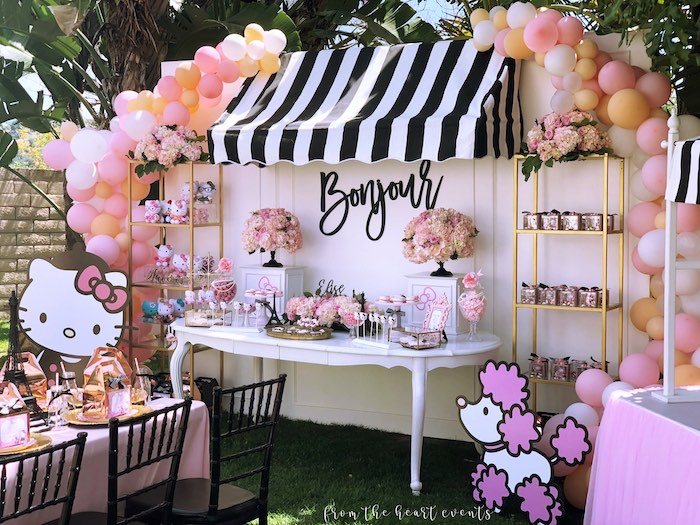 Bonjour Dessert Table from a Hello Kitty in Paris Birthday Party on Kara's Party Ideas | KarasPartyIdeas.com (36)
