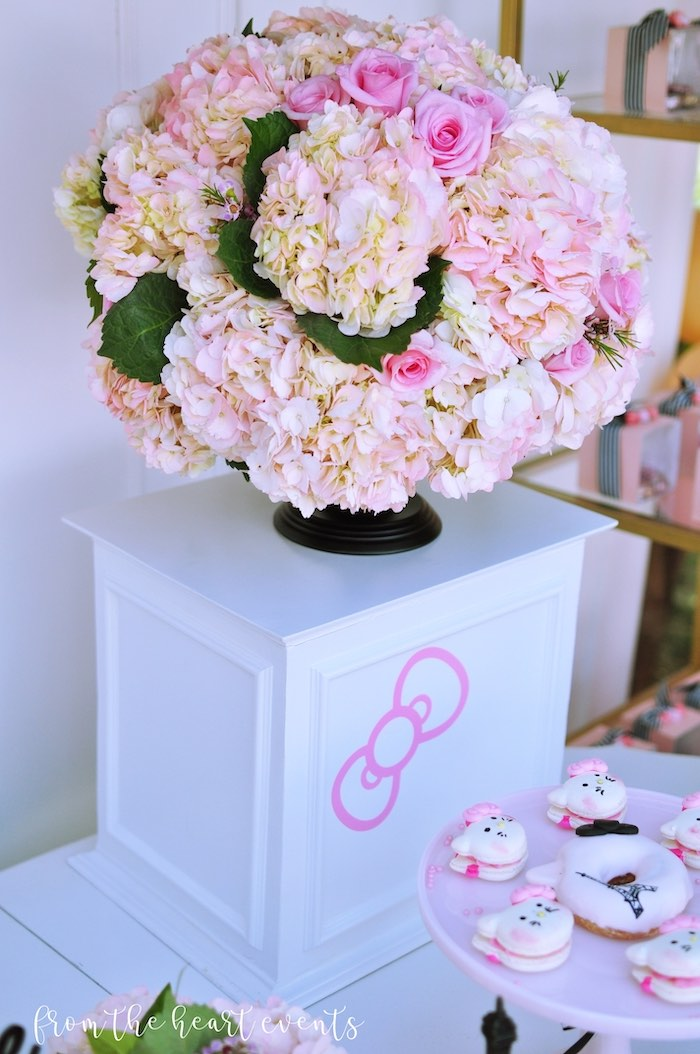 Flower Pedestal from a Hello Kitty in Paris Birthday Party on Kara's Party Ideas | KarasPartyIdeas.com (16)