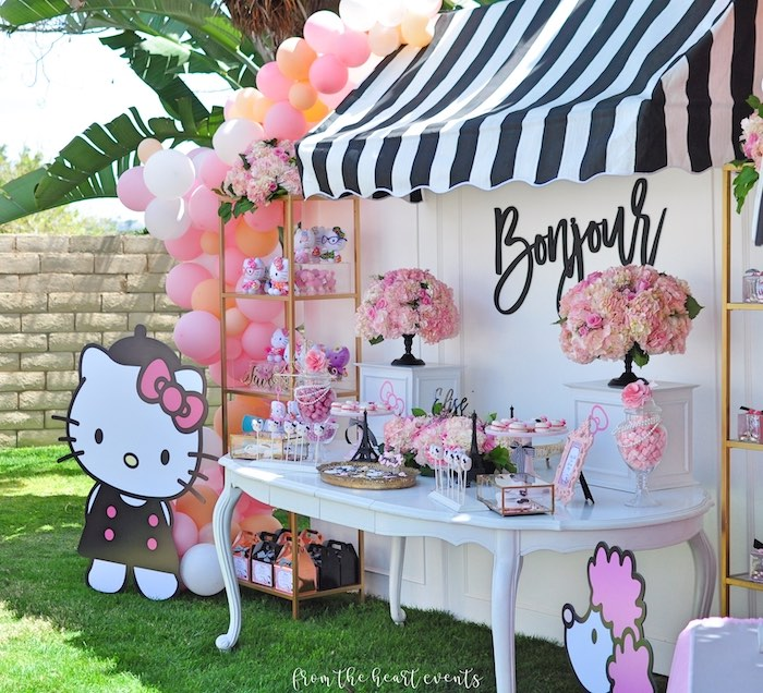 Bonjour Hello Kitty Dessert Table from a Hello Kitty in Paris Birthday Party on Kara's Party Ideas | KarasPartyIdeas.com (13)