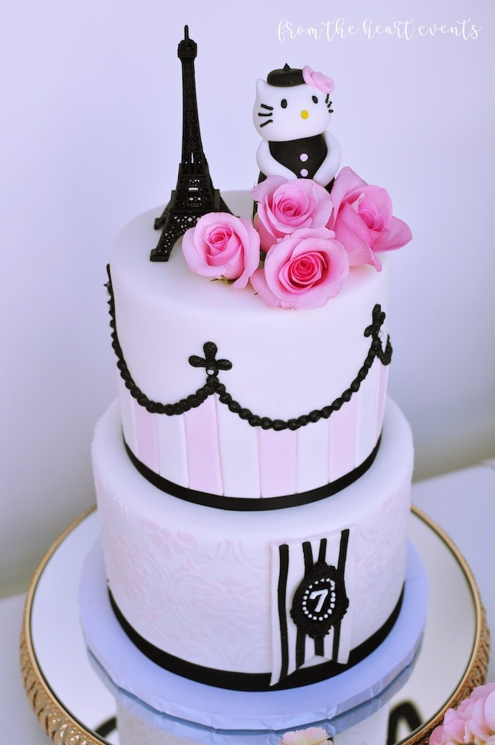 Parisian Hello Kitty Birthday Cake from a Hello Kitty in Paris Birthday Party on Kara's Party Ideas | KarasPartyIdeas.com (12)