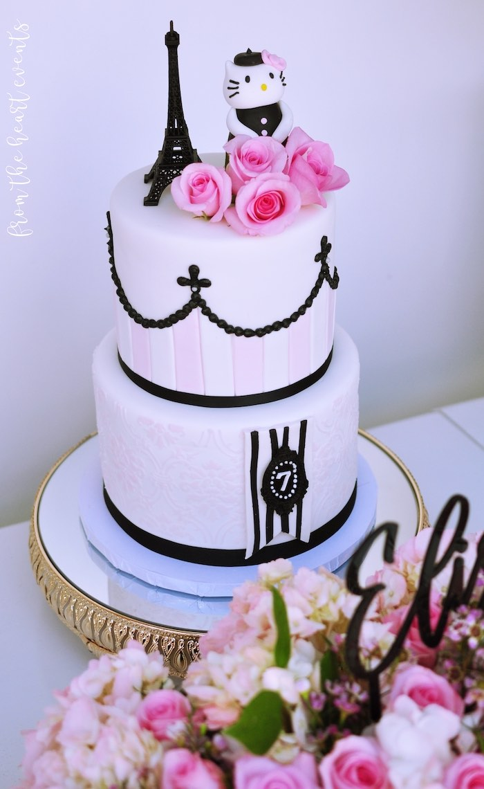 Parisian Hello Kitty Birthday Cake from a Hello Kitty in Paris Birthday Party on Kara's Party Ideas | KarasPartyIdeas.com (11)