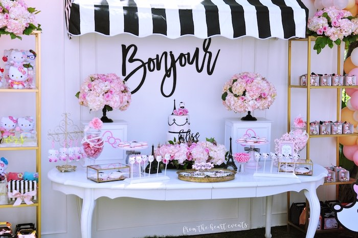 Bonjour Dessert Table from a Hello Kitty in Paris Birthday Party on Kara's Party Ideas | KarasPartyIdeas.com (10)