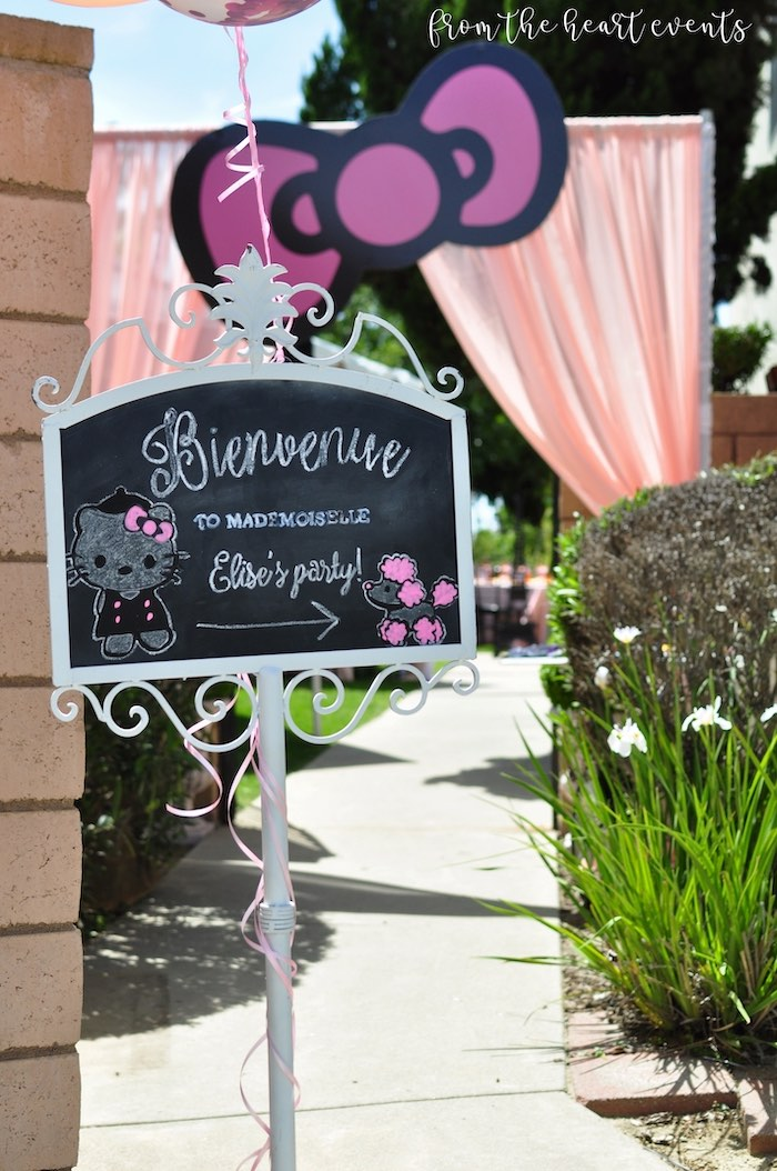 Chalkboard Entrance Sign from a Hello Kitty in Paris Birthday Party on Kara's Party Ideas | KarasPartyIdeas.com (35)