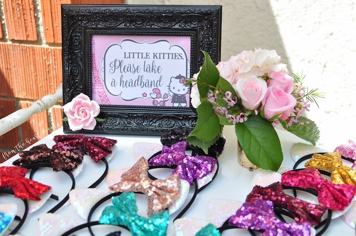 Sequin Bow Headbands from a Hello Kitty in Paris Birthday Party on Kara's Party Ideas | KarasPartyIdeas.com (34)