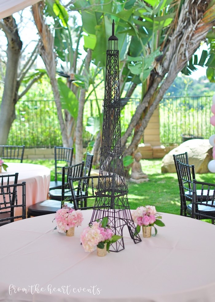Eiffel Tower Table Centerpiece from a Hello Kitty in Paris Birthday Party on Kara's Party Ideas | KarasPartyIdeas.com (30)