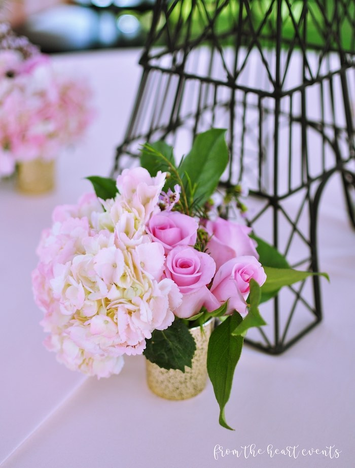 Pink Bloom Centerpiece from a Hello Kitty in Paris Birthday Party on Kara's Party Ideas | KarasPartyIdeas.com (29)