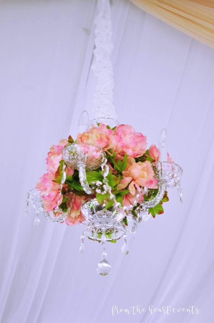 Floral Chandelier from a Hello Kitty in Paris Birthday Party on Kara's Party Ideas | KarasPartyIdeas.com (28)