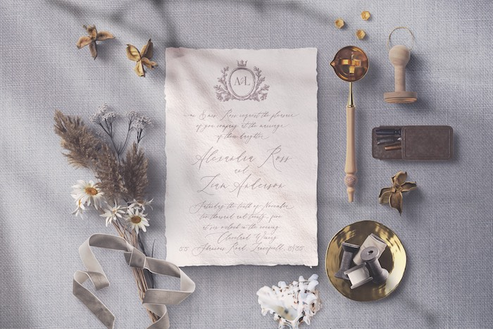 Royal Crest Invitation from a 2019 Wedding Trends from Celebrity Experts via Kara's Party Ideas | KarasPartyIdeas.com