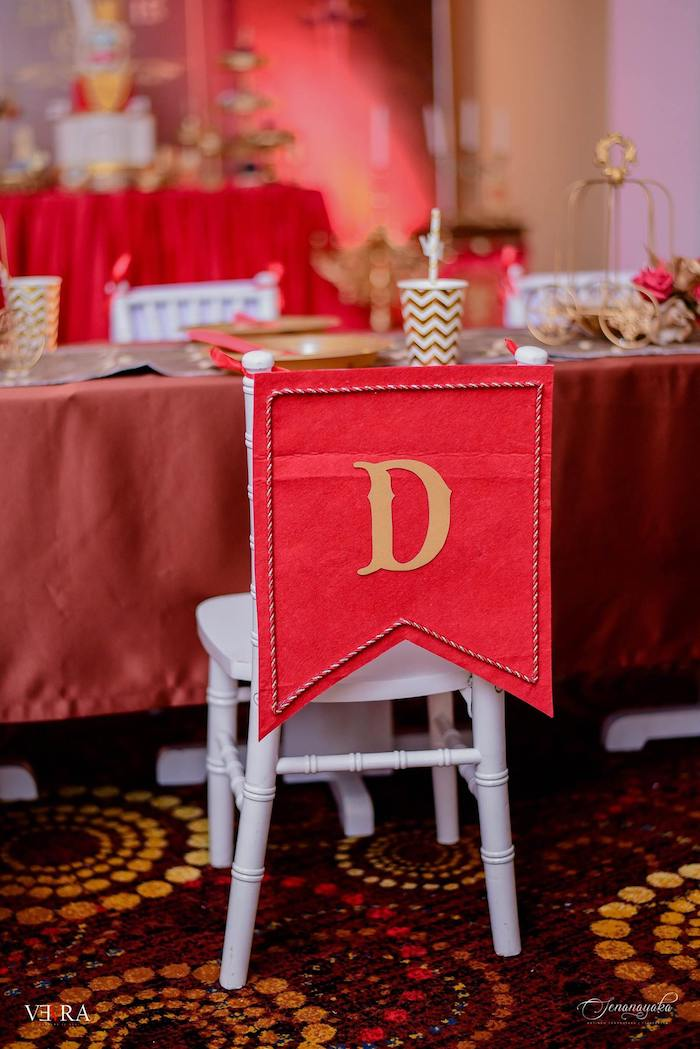 Initialed Chair Banner from a Medieval Royal Prince + Game of Thrones Birthday Party on Kara's Party Ideas | KarasPartyIdeas.com (13)