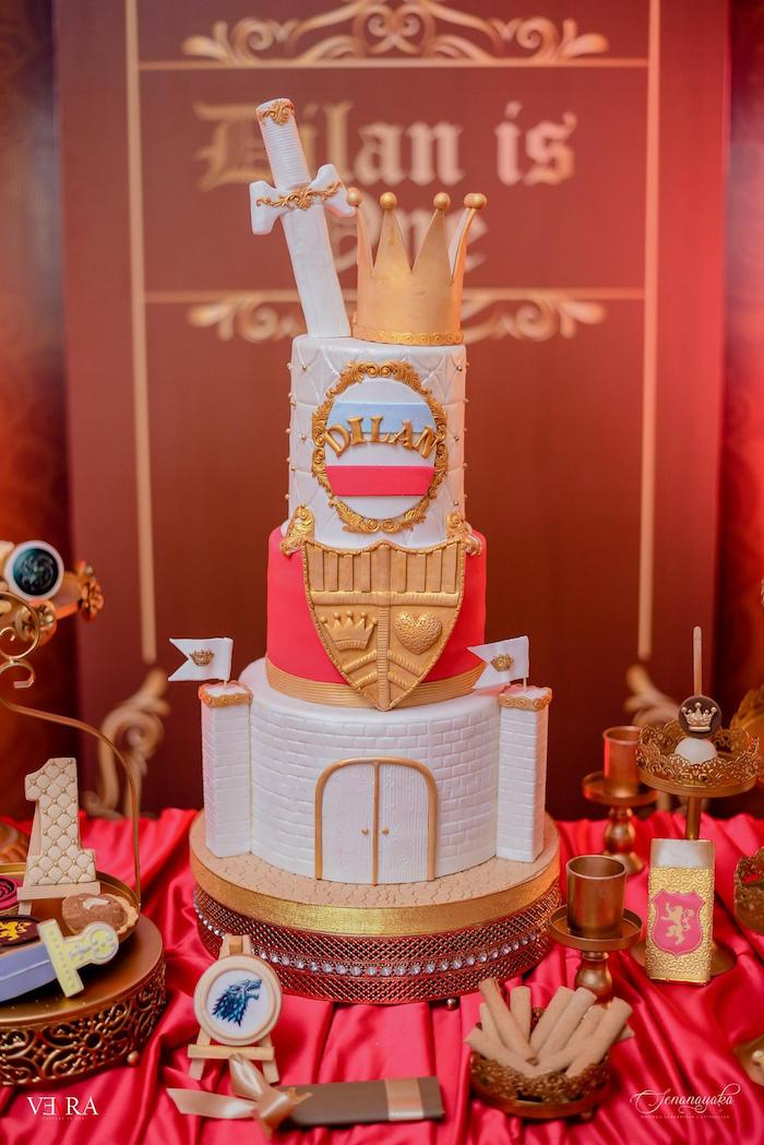 Medieval Prince Cake from a Medieval Royal Prince + Game of Thrones Birthday Party on Kara's Party Ideas | KarasPartyIdeas.com (5)