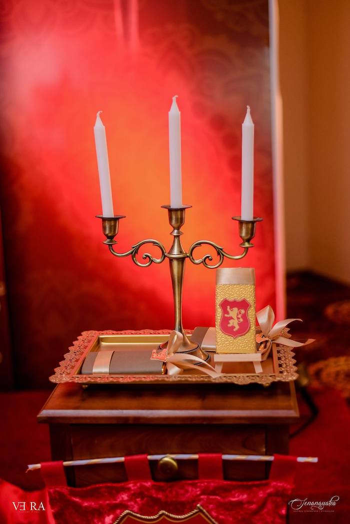 Candlestick from a Medieval Royal Prince + Game of Thrones Birthday Party on Kara's Party Ideas | KarasPartyIdeas.com (18)