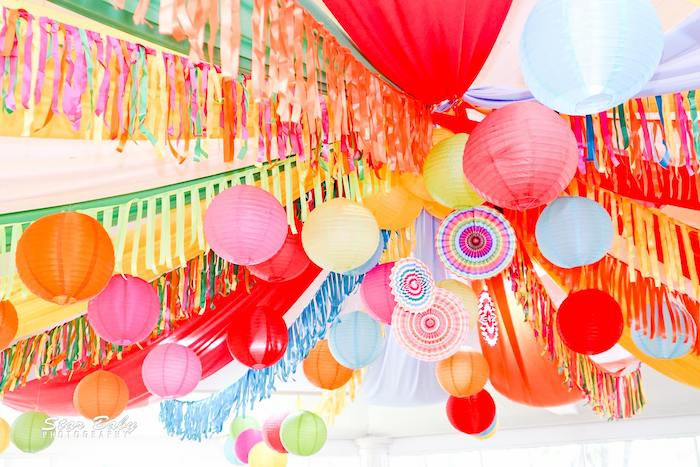 Tissue Decoration & Tassel Ceiling from a Mexican Fiesta Birthday Party on Kara's Party Ideas | KarasPartyIdeas.com (33)